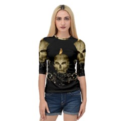 Golden Skull With Crow And Floral Elements Quarter Sleeve Raglan Tee by FantasyWorld7
