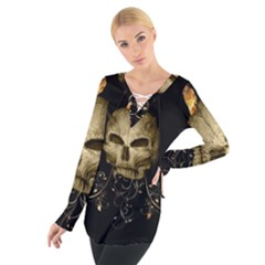 Golden Skull With Crow And Floral Elements Tie Up Tee by FantasyWorld7
