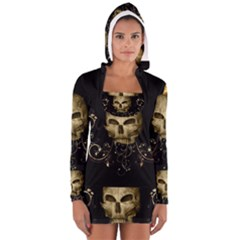 Golden Skull With Crow And Floral Elements Long Sleeve Hooded T Shirt by FantasyWorld7