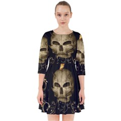Golden Skull With Crow And Floral Elements Smock Dress