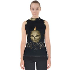 Golden Skull With Crow And Floral Elements Shell Top by FantasyWorld7