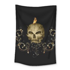 Golden Skull With Crow And Floral Elements Small Tapestry by FantasyWorld7