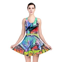 Magic Cube Abstract Art Reversible Skater Dress by 8fugoso
