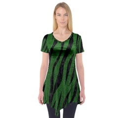 Skin3 Black Marble & Green Leather (r) Short Sleeve Tunic