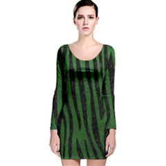 Skin4 Black Marble & Green Leather Long Sleeve Velvet Bodycon Dress