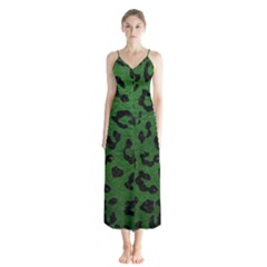 Skin5 Black Marble & Green Leather Button Up Chiffon Maxi Dress
