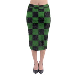 Square1 Black Marble & Green Leather Midi Pencil Skirt by trendistuff
