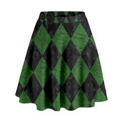 Square2 Black Marble & Green Leather High Waist Skirt by trendistuff