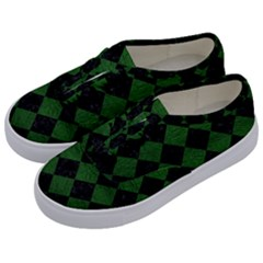 Square2 Black Marble & Green Leather Kids  Classic Low Top Sneakers by trendistuff