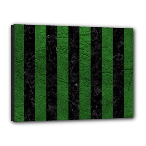 Stripes1 Black Marble & Green Leather Canvas 16  X 12  by trendistuff