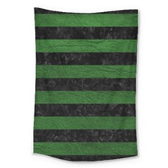 Stripes2 Black Marble & Green Leather Large Tapestry by trendistuff