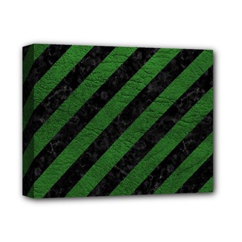 Stripes3 Black Marble & Green Leather Deluxe Canvas 14  X 11  by trendistuff