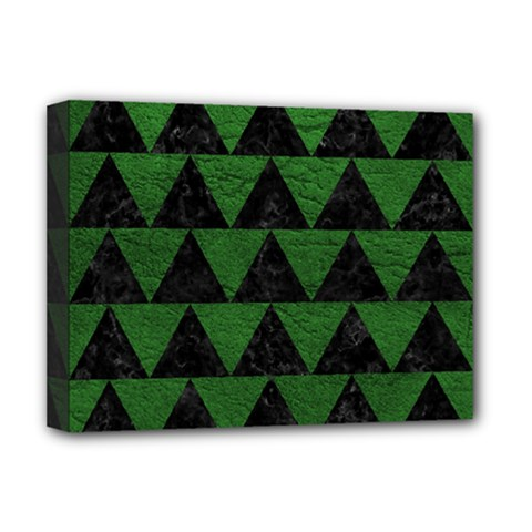 Triangle2 Black Marble & Green Leather Deluxe Canvas 16  X 12   by trendistuff