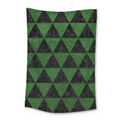 Triangle3 Black Marble & Green Leather Small Tapestry by trendistuff