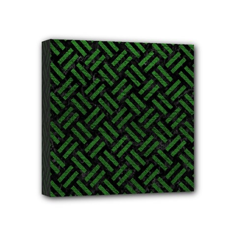 Woven2 Black Marble & Green Leather Mini Canvas 4  X 4  by trendistuff
