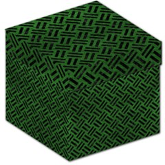 Woven2 Black Marble & Green Leather (r) Storage Stool 12   by trendistuff