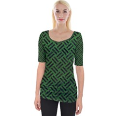 Woven2 Black Marble & Green Leather (r) Wide Neckline Tee