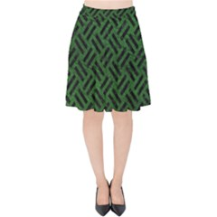 Woven2 Black Marble & Green Leather (r) Velvet High Waist Skirt by trendistuff
