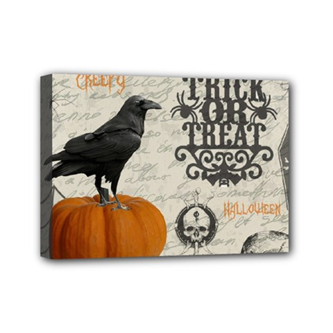 Vintage Halloween Mini Canvas 7  X 5  by Valentinaart
