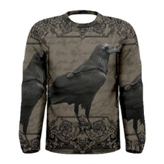 Vintage Halloween Raven Men s Long Sleeve Tee by Valentinaart
