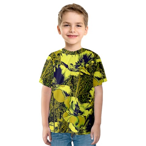Amazing Glowing Flowers 2c Kids  Sport Mesh Tee by MoreColorsinLife