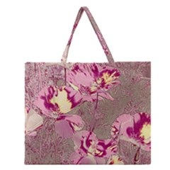 Amazing Glowing Flowers 2b Zipper Large Tote Bag by MoreColorsinLife