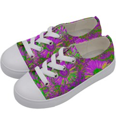 Amazing Neon Flowers A Kids  Low Top Canvas Sneakers by MoreColorsinLife