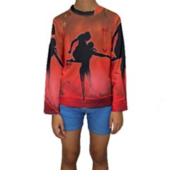 Dancing Couple On Red Background With Flowers And Hearts Kids  Long Sleeve Swimwear by FantasyWorld7
