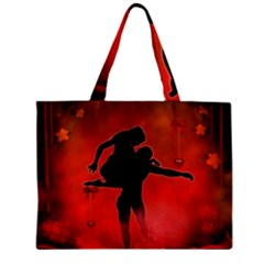 Dancing Couple On Red Background With Flowers And Hearts Zipper Mini Tote Bag by FantasyWorld7