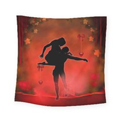 Dancing Couple On Red Background With Flowers And Hearts Square Tapestry (small) by FantasyWorld7
