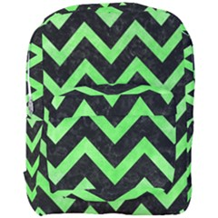 Chevron9 Black Marble & Green Watercolor Full Print Backpack by trendistuff
