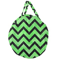 Chevron9 Black Marble & Green Watercolor (r) Giant Round Zipper Tote by trendistuff