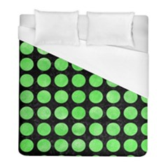 Circles1 Black Marble & Green Watercolor Duvet Cover (full/ Double Size) by trendistuff