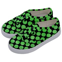 Circles2 Black Marble & Green Watercolor Kids  Classic Low Top Sneakers by trendistuff
