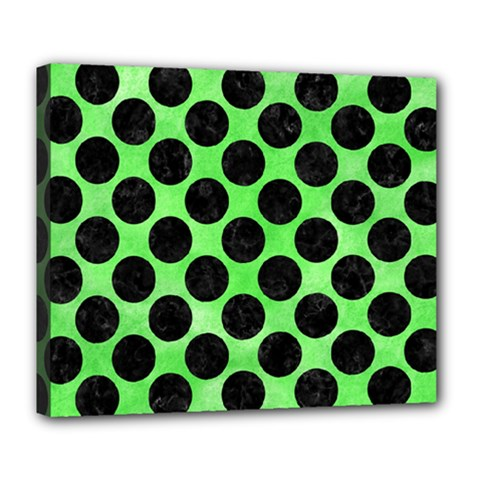 Circles2 Black Marble & Green Watercolor (r) Deluxe Canvas 24  X 20   by trendistuff