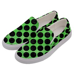 Circles2 Black Marble & Green Watercolor (r) Men s Canvas Slip Ons by trendistuff
