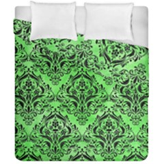Damask1 Black Marble & Green Watercolor (r) Duvet Cover Double Side (california King Size) by trendistuff