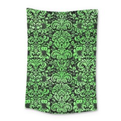 Damask2 Black Marble & Green Watercolor Small Tapestry by trendistuff