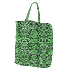 Damask2 Black Marble & Green Watercolor Giant Grocery Zipper Tote by trendistuff
