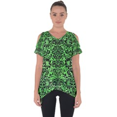 Damask2 Black Marble & Green Watercolor (r) Cut Out Side Drop Tee