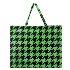 Houndstooth1 Black Marble & Green Watercolor Zipper Large Tote Bag by trendistuff