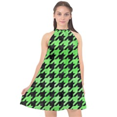 Houndstooth1 Black Marble & Green Watercolor Halter Neckline Chiffon Dress