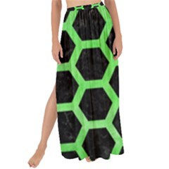 Hexagon2 Black Marble & Green Watercolor Maxi Chiffon Tie Up Sarong by trendistuff