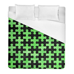 Puzzle1 Black Marble & Green Watercolor Duvet Cover (full/ Double Size) by trendistuff