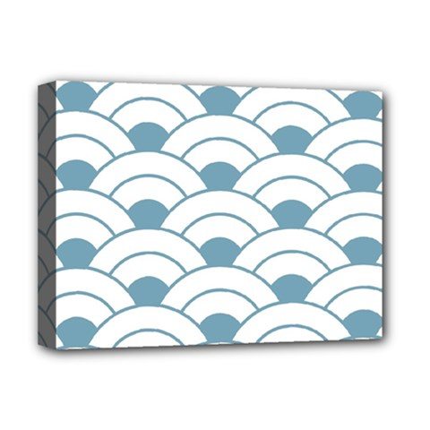 Art Deco,shell Pattern,teal,white Deluxe Canvas 16  X 12   by 8fugoso