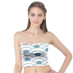 Art Deco,shell Pattern,teal,white Tube Top by 8fugoso