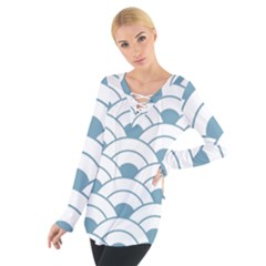 Art Deco,shell Pattern,teal,white Tie Up Tee