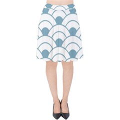 Art Deco,shell Pattern,teal,white Velvet High Waist Skirt by 8fugoso