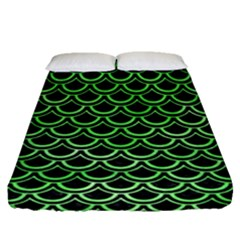 Scales2 Black Marble & Green Watercolor Fitted Sheet (queen Size) by trendistuff
