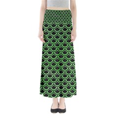 Scales2 Black Marble & Green Watercolor Full Length Maxi Skirt